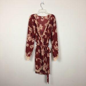 Sensara Red Floral Print Pajama Robe Sz L/XL